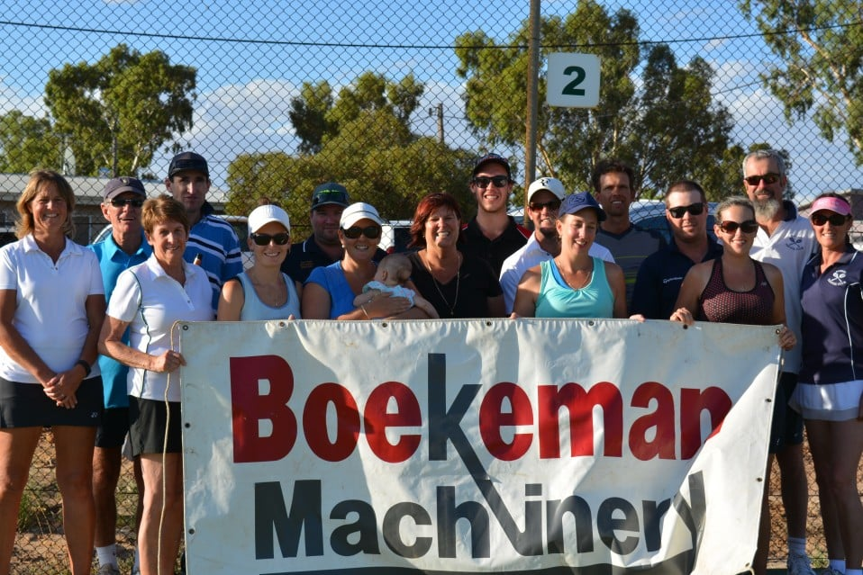 Wongan Hills 16th February 2018 Mixed Doubles Tennis Tournament participants from Boekeman Machinery
