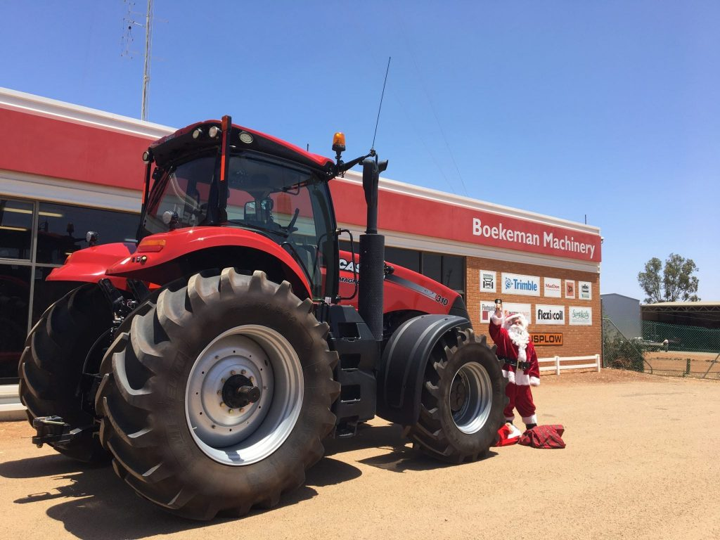 Santa Claus and his new Case IH tractor