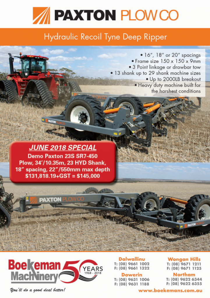 Paxton Plow Co June 2018 Stock Clearance Specials