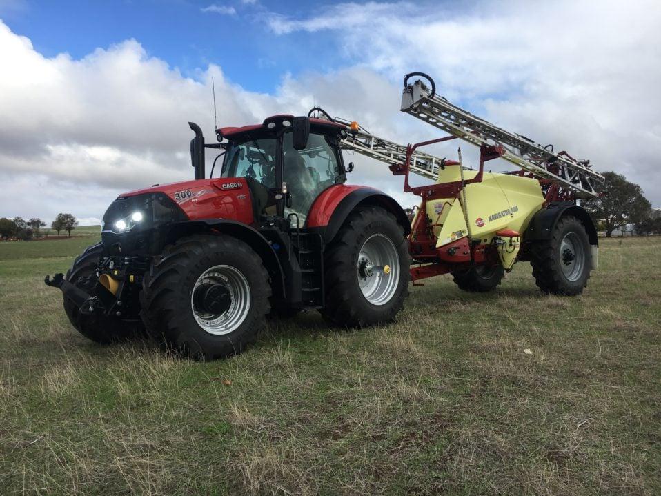 Case IH Optum 300 FWA tractor and Hardi 6030 Navigator trailing sprayer