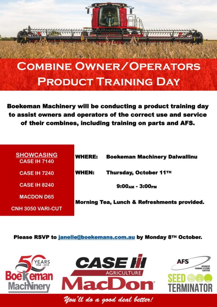 Combine Owner / Operator Product Training Day poster