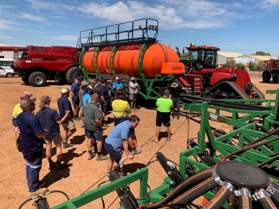 An Ausplow DBS and Multistream machine and the owners and prospects of the said machine at Ausplow Day in Wongan Hills