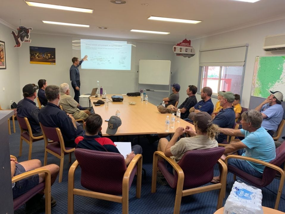 Doctor Nick Berry discussing the 2018 Harvest & Future Plans with the farmers