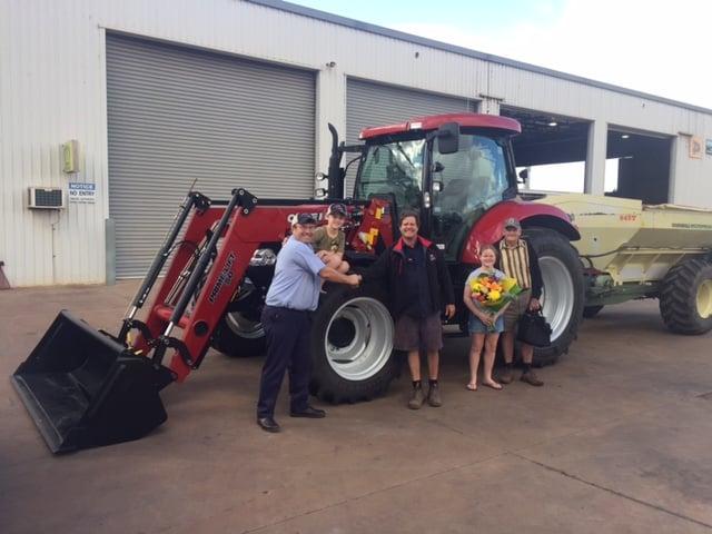 Boekeman Machinery handing over the keys to WA & AE Howlett for his new CASE IH Maxxum 140 Ultimate Tractor