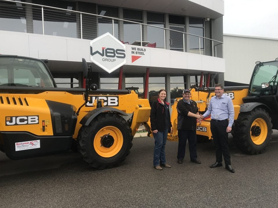 Andrew Boekeman congratulating Russell Draffin, Managing Director of Wheatbelt Steel (WBS), for their recent purchase of 2 x New JCB 540-140 HV Construction Loadall/Telehandler