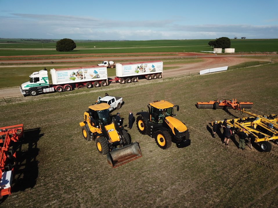 Air drone shot on the WANTFA Day 2019 with several farm machineries in the field