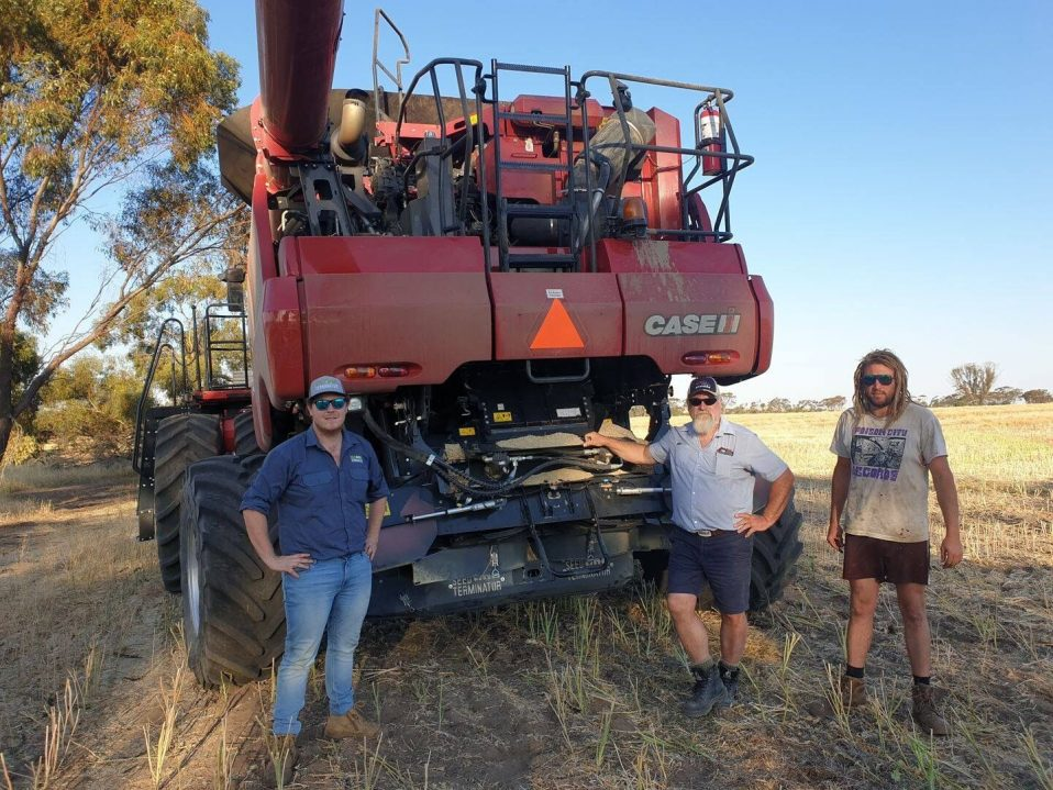 Dowerin salesman Leith Johnston caught up with Kegan on their Case IG farm machinery