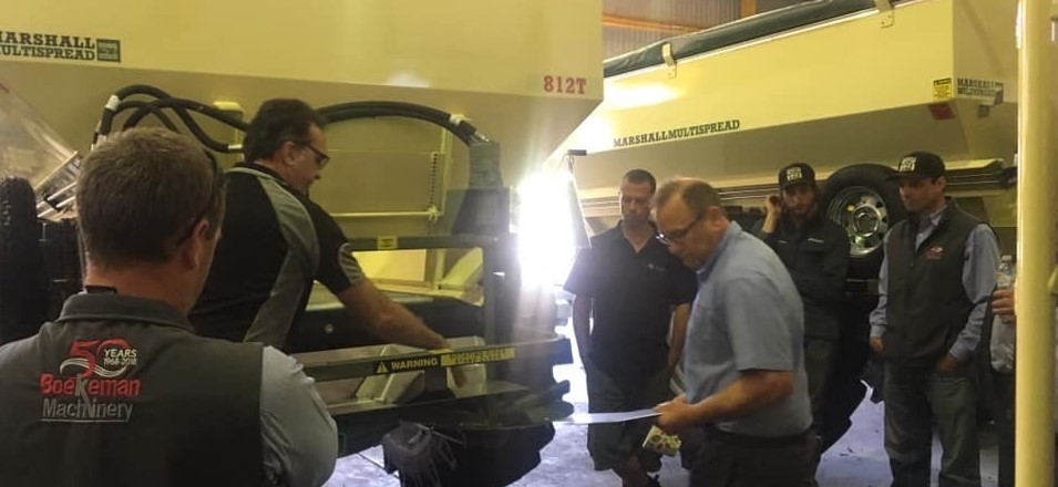 Boekeman Machinery sales and precision farming team training at Marshall Multispread Head Quarters