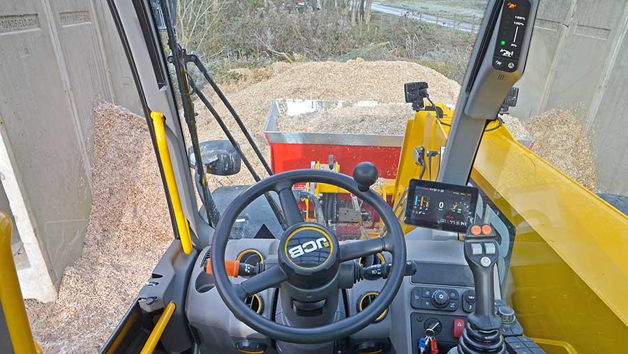 JCB Series III Loadall driver view on the steering wheel