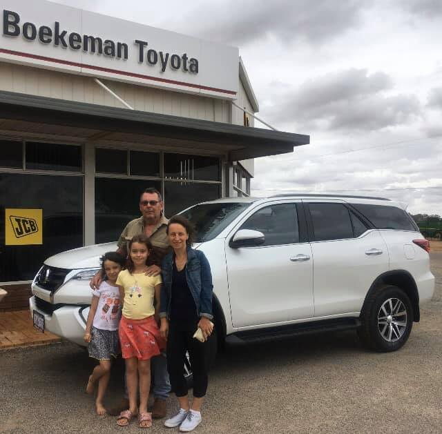 Maher family and their new 2020 Toyota Fortuner Crusade Turbo diesel Auto Wagon in Wongan Hills