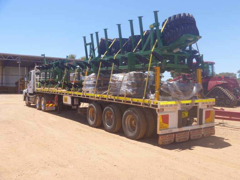 Truck full of heavy machinery parts