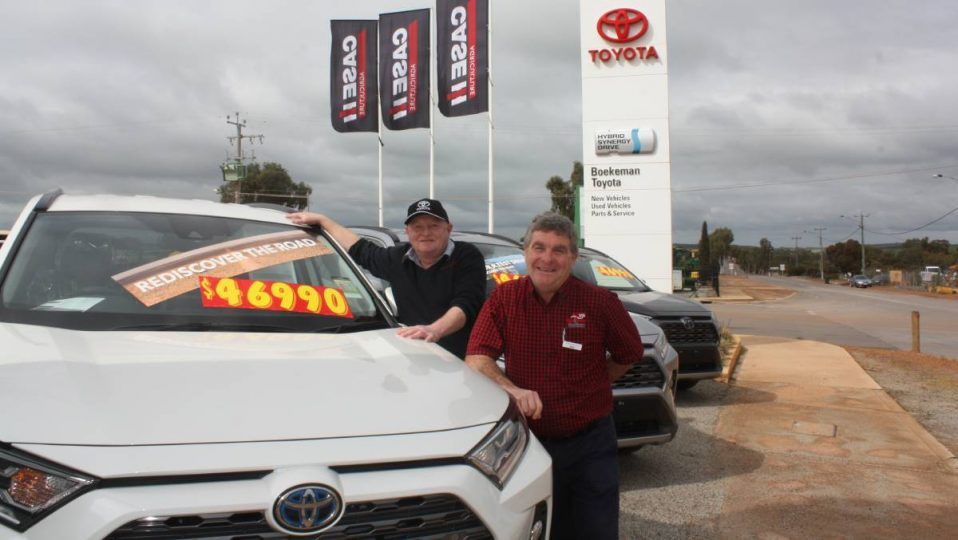 Boekeman Machinery Toyota general manager Brian Drinkwell (left) and parts manager Steve Clark